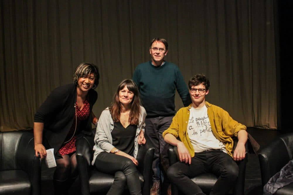 (left to right) Masterclass host Trish Adudu with producer Ella Kelly, director Ian Barber and Patrick Walshe McBride who plays Sebastian in the show