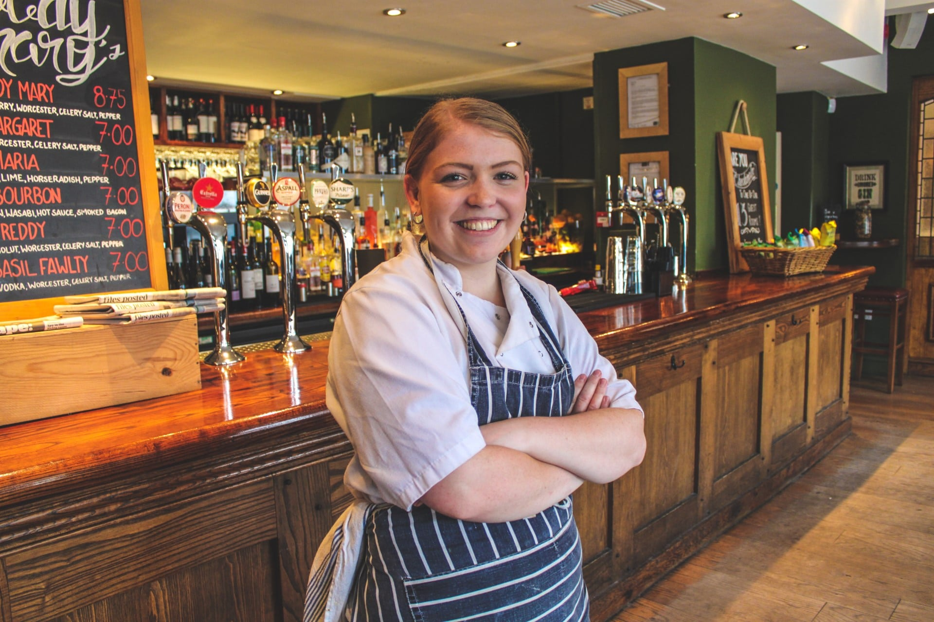 Professional Cookery Apprentice Ellena Maher at the Rose & Crown restaurant
