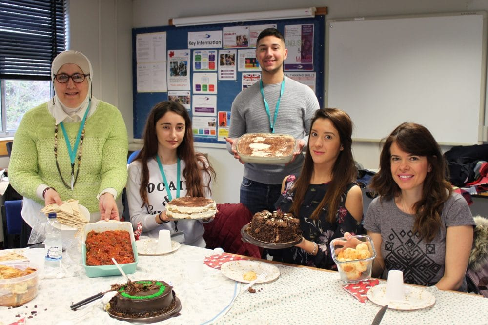 ESOL students (left to right) Laila Aboughazalia, Aurelia Iona Gheaburcu, Daniel De Nicolo, Miroslava Mihaylova and Andrea Chaver Renno