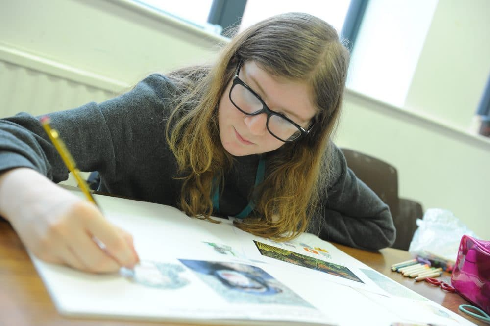 Art and design students doing drawing
