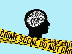 Silhouette of human head with fingerprint overlaid covered by police warning tape.