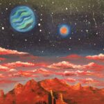 Oil painting of an alien world's night's sky over an arid landscape.