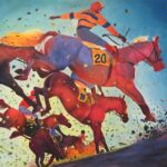 Colourful painting of racehorses.