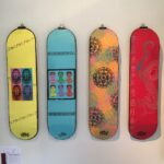 Various colourful skateboard designs.
