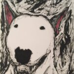 Stylised painting of a bull terrier.