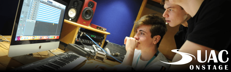 Music production work in recording studio.