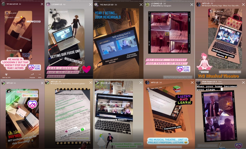 Screenshots of students working from home