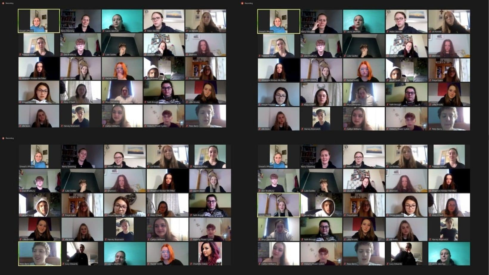 Collage of students on zoom