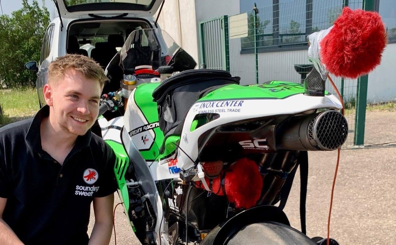 Jack next to motorbike