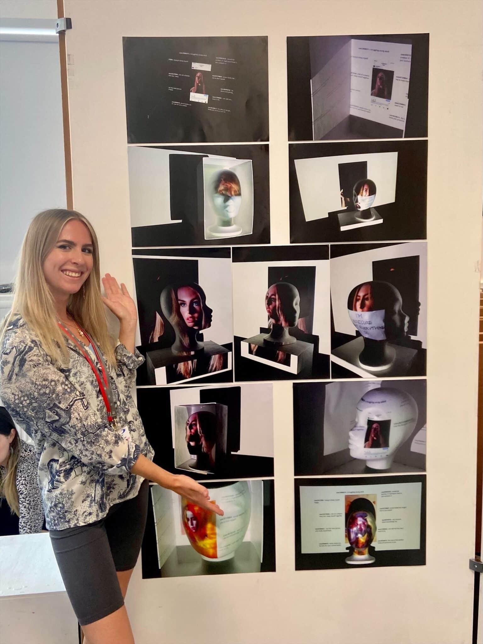 Eleanor displaying her work