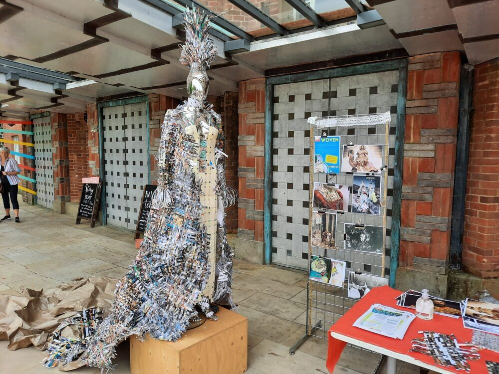 Dress made of paper weaves on display in Stratford