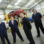 Motor Vehicle students in the College's workshop